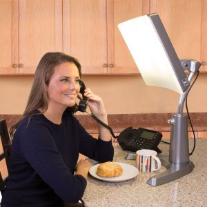 Carex Health Brands Day-Light Classic Plus Bright Light Therapy Lamp In Use